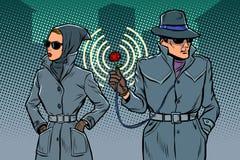 男人和妇女侦探,间谍 皇族释放例证