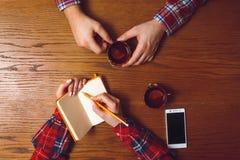 男人和妇女咖啡馆的 顶视图 免版税库存照片