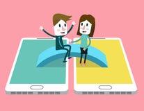 男人和妇女喜欢谈在桥梁在巧妙的电话之间 免版税库存图片