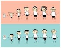 男人和妇女在不同的生活阶段 向量例证