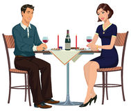 男人和妇女在桌上-例证 库存图片