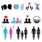 男人和妇女在白色背景的符号集关系 免版税库存照片