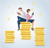 男人和妇女在硬币,企业概念传染媒介的阅读书 免版税库存照片