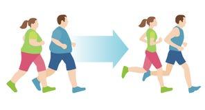 男人和妇女在锻炼前后 免版税库存照片