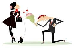 男人和妇女坠入爱河概念例证 免版税图库摄影