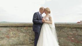 男人和妇女婚姻的衣裳的在城堡站立在城市视图旁边 股票视频