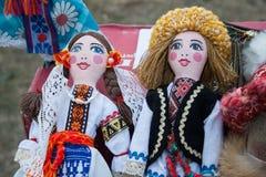 男人和妇女摩尔多瓦的玩偶  免版税图库摄影