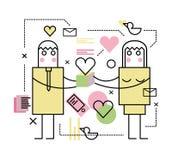男人和妇女有礼物盒的 免版税库存照片