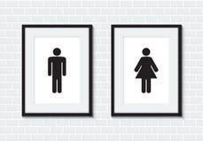 男人和妇女标志的洗手间 免版税库存照片