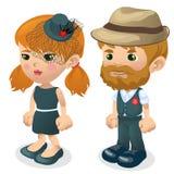 男人和妇女样式衣裳的 动画片人 库存例证