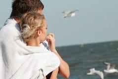 男人和妇女海的 免版税库存图片