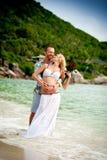 男人和妇女海滩的 图库摄影