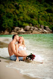 男人和妇女海滩的 免版税库存照片
