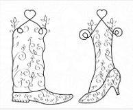 男人和妇女漩涡鞋子,心脏,婚礼,传染媒介,例证 免版税库存照片
