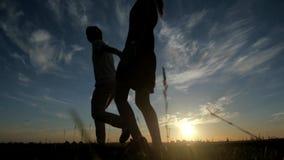 男人和妇女爱在日落,爱概念的剪影 股票视频
