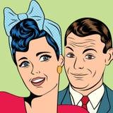男人和妇女爱在流行艺术可笑的样式的夫妇 库存照片