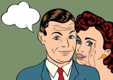 男人和妇女爱在流行艺术可笑的样式的夫妇 免版税库存照片