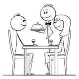 男人和妇女爱恋的夫妇动画片坐在表后的在餐馆,当侍者服务的食物时 皇族释放例证