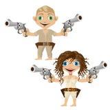 男人和妇女用手枪武装,双重人格 免版税库存照片