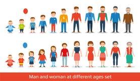 男人和妇女老化集合 在不同的年龄的人世代 平面 向量例证