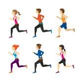 男人和妇女赛跑集合 免版税图库摄影