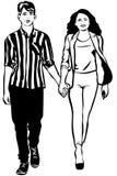 男人和妇女走的手剪影在handm的 免版税库存照片