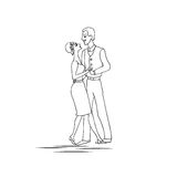 男人和妇女跳舞 减速火箭的样式 黑白的传染媒介 库存例证