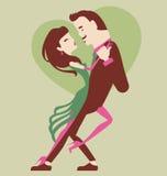 男人和妇女跳舞 免版税库存照片
