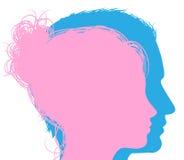 男人和妇女面孔剪影 库存图片