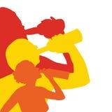 男人和妇女饮用的illustraton 免版税库存照片