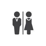 男人和妇女洗手间象导航,被填装的平的标志,在白色隔绝的坚实图表 皇族释放例证