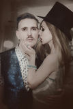 男人和妇女画象在戏剧性服装穿戴了 免版税库存照片