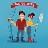 男人和妇女Fisher 钓鱼的时刻 有钓鱼竿的人 免版税库存照片