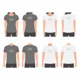 男人和妇女T恤杉设计模板 向量例证