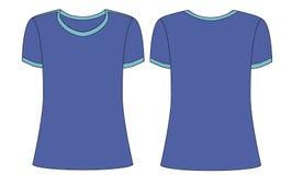 男人或妇女的体育蓝色T恤杉模板 库存例证