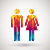 男人&妇女与五颜六色的金刚石的休息室标志 免版税库存照片