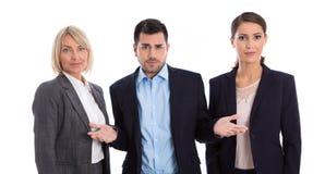 男女平等概念:女性和男性商人队  免版税图库摄影