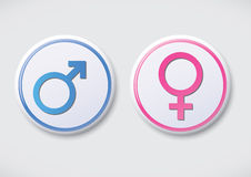 男女标志-传染媒介按钮徽章 库存图片