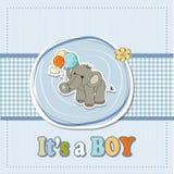 男婴与大象的阵雨看板卡 库存例证