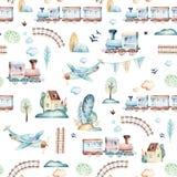 男婴世界 动画片飞机、飞机和无盖货车活动水彩例证样式 孩子戏弄生日 向量例证