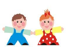 男婴和女孩,愉快的孩子,学龄前年龄 免版税库存图片