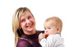 男婴微笑的妇女 库存照片