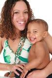 男婴愉快母亲微笑 免版税库存照片