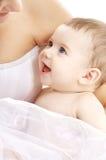男婴愉快的妈妈 图库摄影