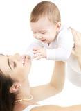 男婴愉快的母亲 免版税库存照片