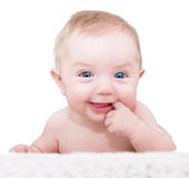 男婴摆在 图库摄影