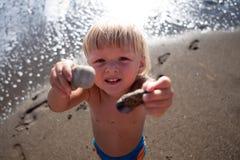 男婴石头 免版税库存图片
