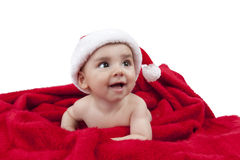 男婴等待的圣诞节 免版税图库摄影