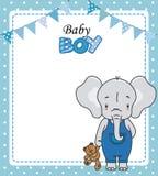 男婴阵雨卡片 与女用连杉衬裤的逗人喜爱的大象 向量例证