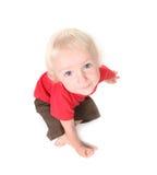 男婴fisheye射击小孩顶视图 免版税库存图片